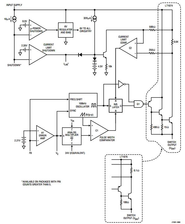 LT1076-5, Понижающий преобразователь напряжения на 5В.